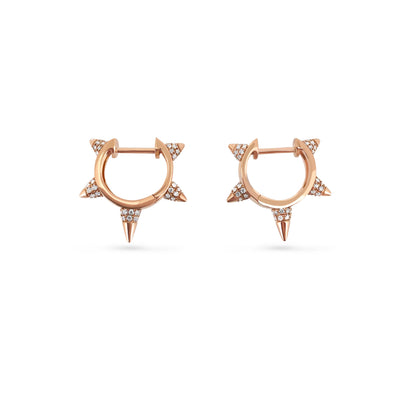 Bullet Studded Earrings in Rose Gold with Diamonds