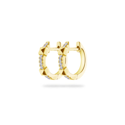 Arch Huggies in Yellow Gold with Diamond
