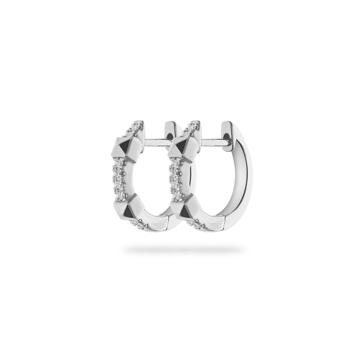 Arch Huggies in White Gold with Diamonds