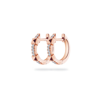 Arch Huggies in Rose Gold with Diamonds