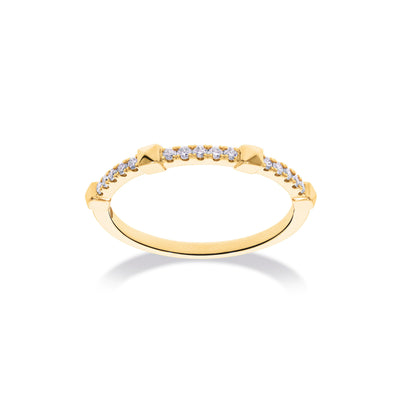 Arch Ring in Yellow Gold with Diamonds