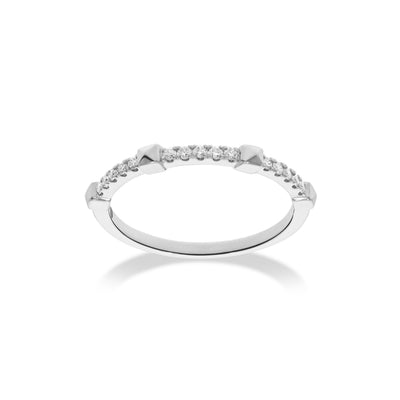 Arch Ring in White Gold with Diamonds