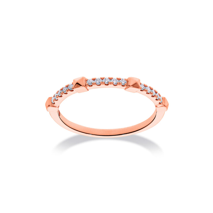 Arch Ring in Rose Gold with Diamonds