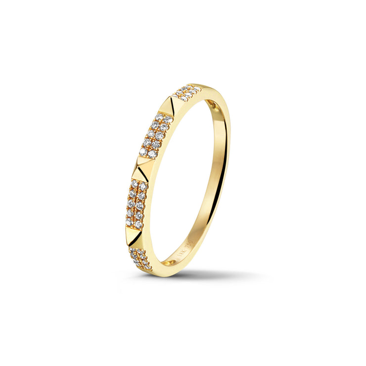 Studs Stackable Ring in Yellow Gold with Diamond