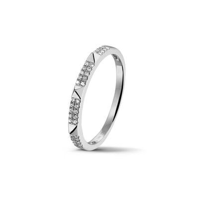 Studs Stackable Ring in White Gold with Diamond