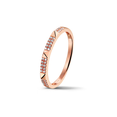 Studs Stackable Ring in Rose Gold with Diamond