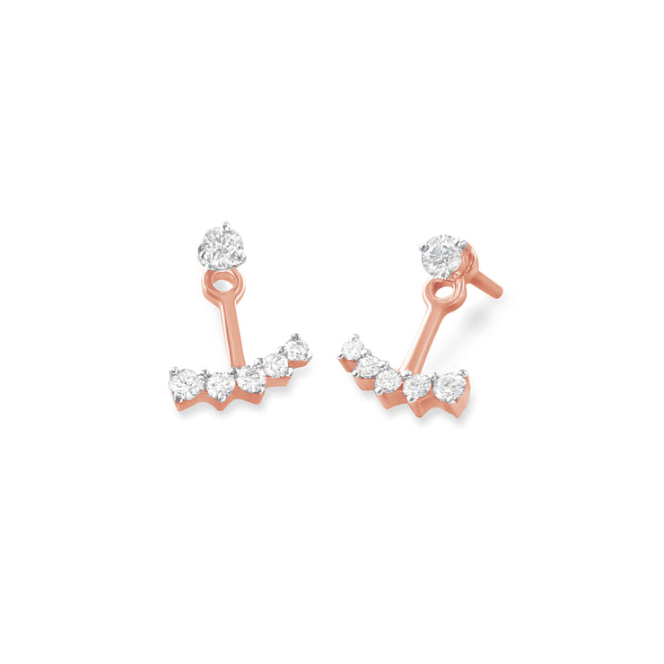 Anchor Earrings in Rose Gold with Diamonds