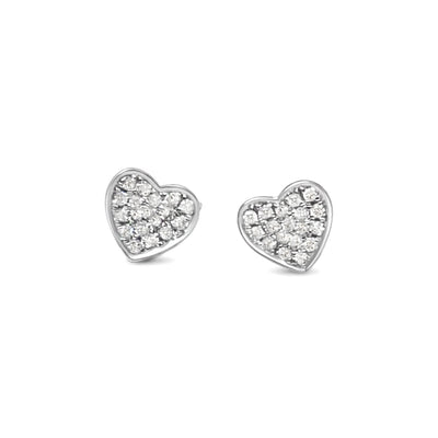 Heart Ear Studs in White Gold with Diamonds