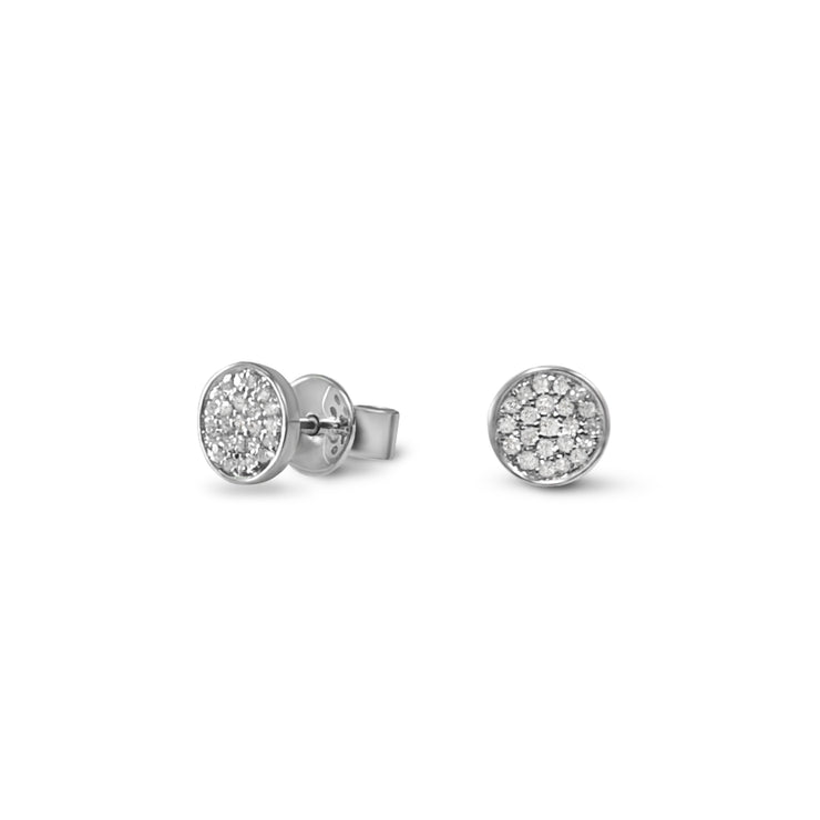 Circle Ear Studs in White Gold with Diamonds