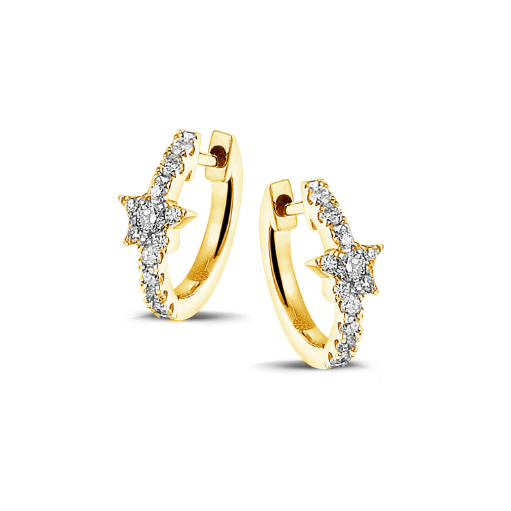 Full Sparkle Star Huggies in Yellow Gold with Diamonds