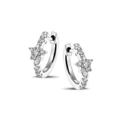 Full Sparkle Star Huggies in White Gold with Diamonds