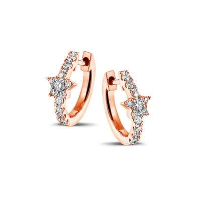Full Sparkle Star Huggies in Rose Gold with Diamonds