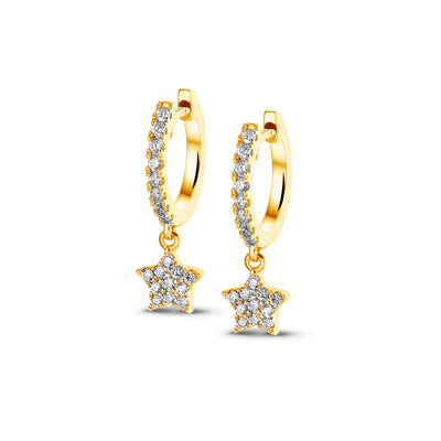 Full Sparkle Dangle Star Huggies in Yellow Gold with Diamonds