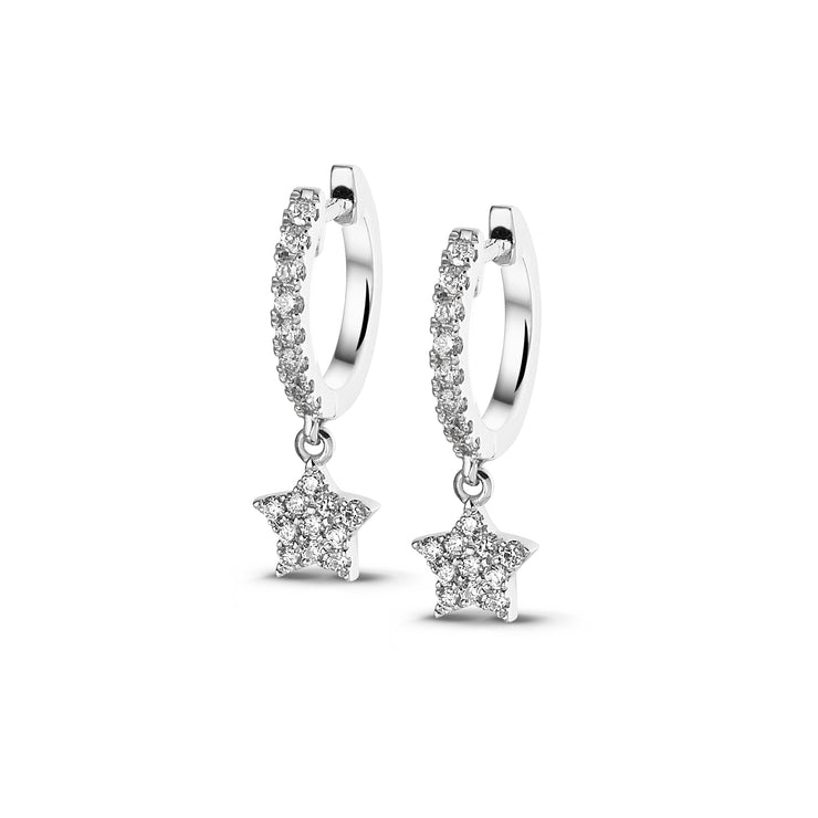Full Sparkle Dangle Star Huggies in White Gold with Diamonds