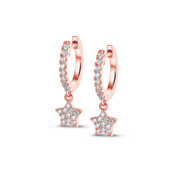 Full Sparkle Dangle Star Huggies in Rose Gold with Diamonds