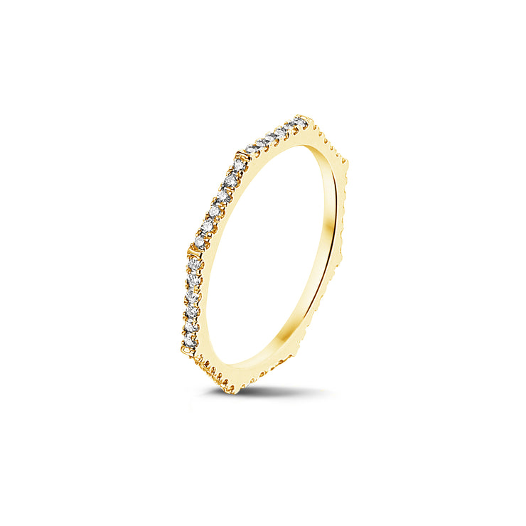 Fully Set Octagonal Stackable Ring in Yellow Gold with Diamonds