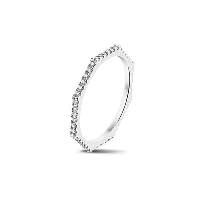 Fully Set Octagonal Stackable Ring in White Gold with Diamonds