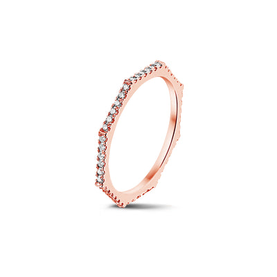 Fully Set Octagonal Stackable Ring in Rose Gold with Diamonds