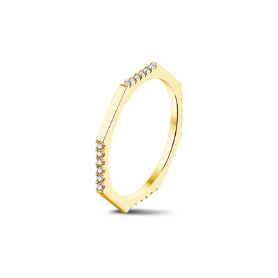 Demi Set Octagonal Stackable Ring in Yellow Gold with Diamonds