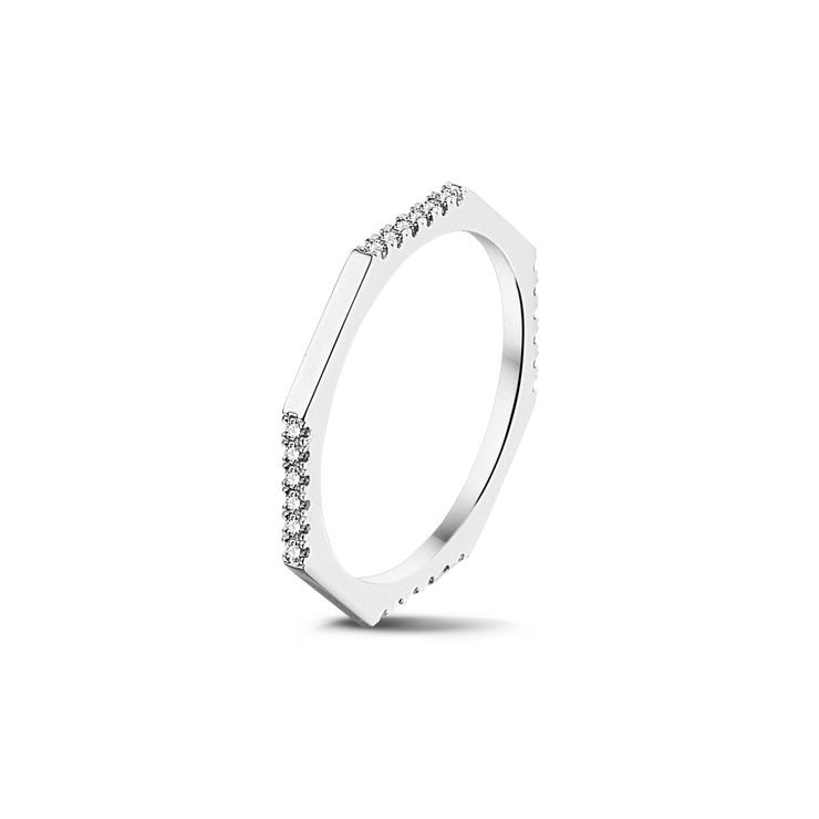 Demi Set Octagonal Stackable Ring in White Gold with Diamonds