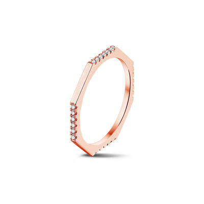 Demi Set Octagonal Stackable Ring in Rose Gold with Diamonds