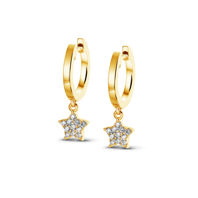 Demi Sparkle Dangle Star Huggies in Yellow Gold with Diamonds
