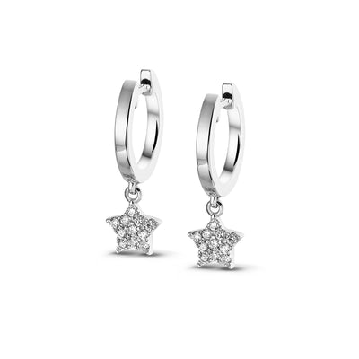 Demi Sparkle Dangle Star Huggies in White Gold with Diamonds