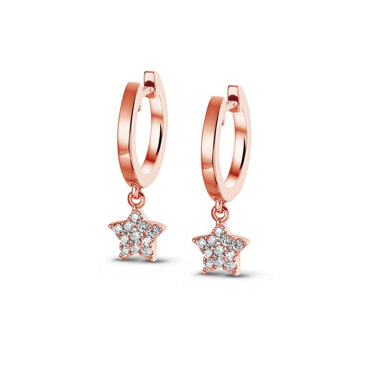 Demi Sparkle Dangle Star Huggies in Rose Gold with Diamonds