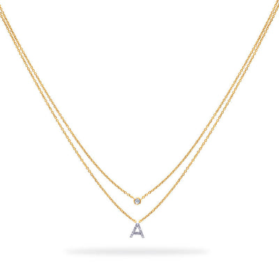 Layered Initial Necklace in Yellow Gold with Diamond