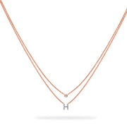Layered Initial Necklace in Rose Gold with Diamonds