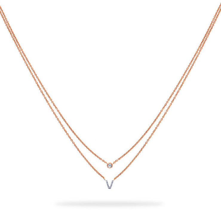 Layered Initial Necklace in Rose Gold with Diamond