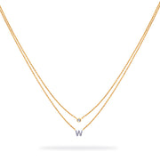 Layered Initial Necklace in Yellow Gold with Diamonds