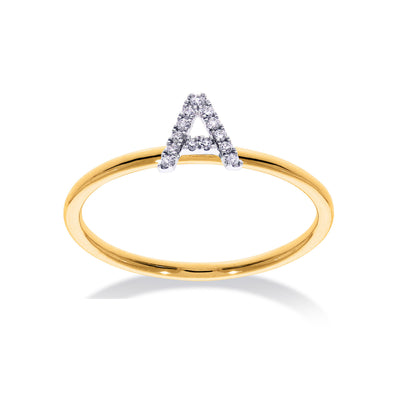 Stackable Initial Ring in Yellow & White Gold with Diamond A