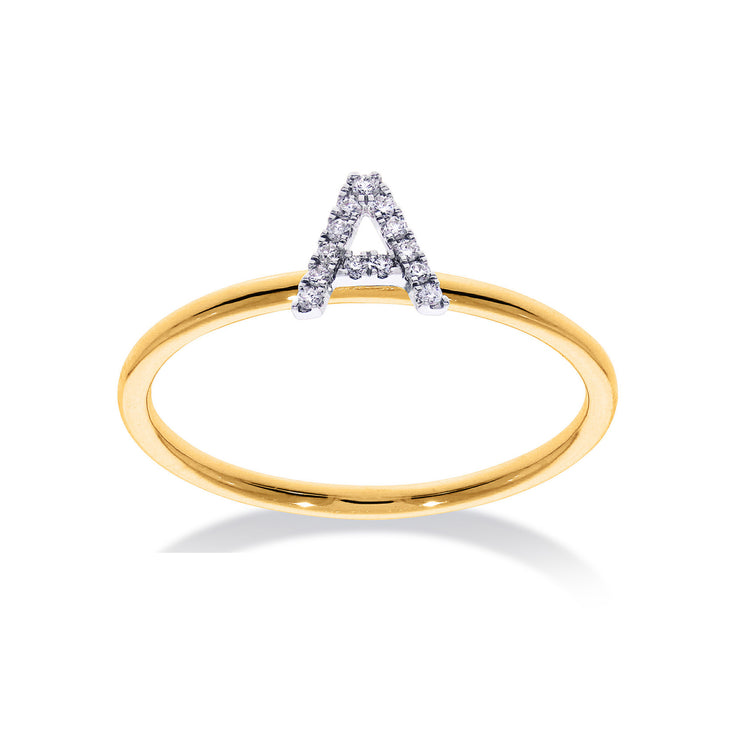 Stackable Initial Ring in Yellow & White Gold with Diamond