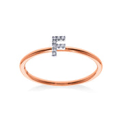 Stackable Initial Ring in Rose & White Gold with Diamonds