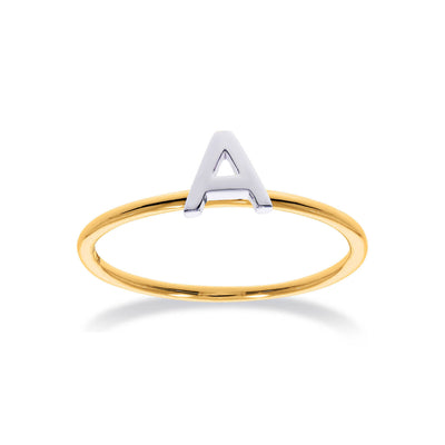Stackable Initial Ring in Yellow & White Gold A