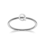 Stackable Initial Ring in White Gold