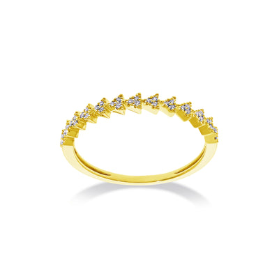 Stackable Triangle Succession Band in Yellow Gold with Diamond