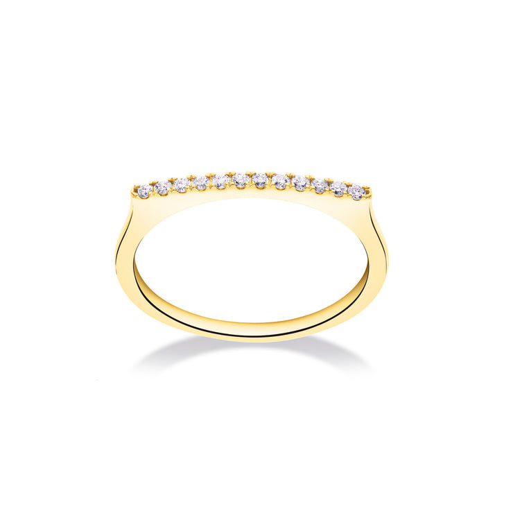 Stackable Bar Ring in Yellow Gold with Diamonds