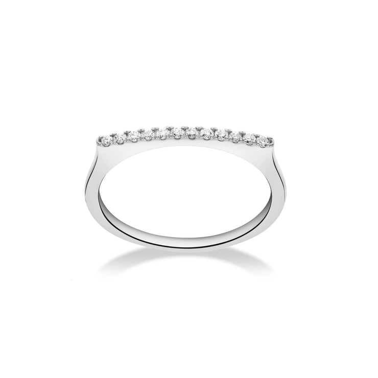 Stackable Bar Ring in White Gold with Diamonds