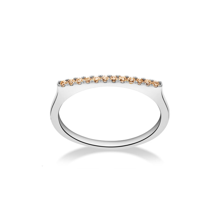 Stackable Bar Ring in White Gold with Brown Diamonds