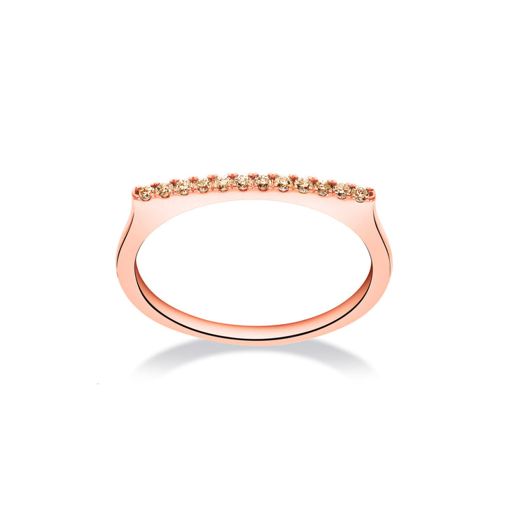 Stackable Bar Ring in Rose Gold with Brown Diamonds