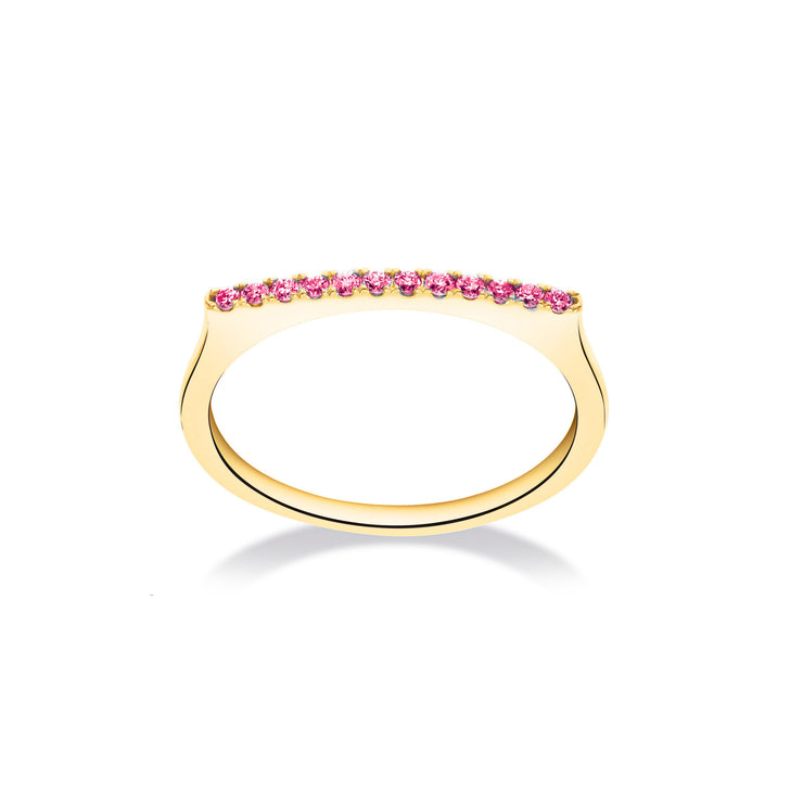 Stackable Bar Ring in Yellow Gold with Pink Sapphire