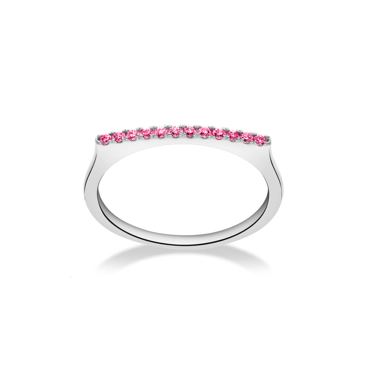 Stackable Bar Ring in White Gold with Pink Sapphire