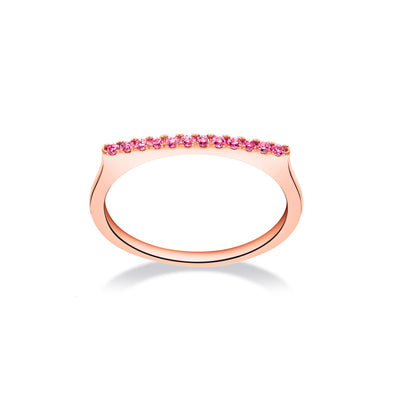 Stackable Bar Ring in Rose Gold with Pink Sapphire
