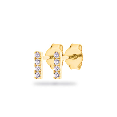 Rod Earrings in Yellow Gold with Diamonds