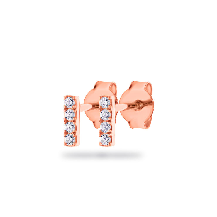 Rod Earrings in Rose Gold with Diamonds