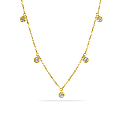Dots Necklace in Yellow Gold with Diamonds