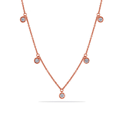Dots Necklace in Rose Gold with Diamond