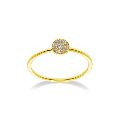 Circle Stackable Ring in Yellow Gold with Diamonds